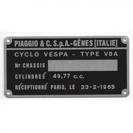 plaque des mines d 39 identification noire vierge pour vespa v5a. Black Bedroom Furniture Sets. Home Design Ideas