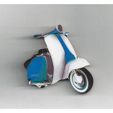 Magnet Vespa en bois bleu - petit modèle