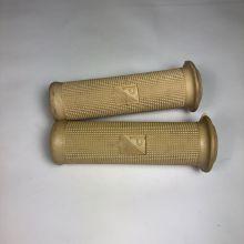 Poignées caoutchouc beiges avec collerettes diam 21 - Vespa Type N 125, 150, 180