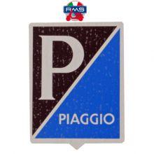 Monogramme / Insigne Piaggio rectangulaire de descente de klaxon, bleu clair / bleu marine (adhésif) - Vespa Acma, Type N