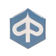 """Monogramme / insigne de descente de klaxon """"logo Piaggio"""", plastic 32x37 mm - Vespa PK 50-125 XL, XL2, PX80-125-200 E/Lusso /'98"""
